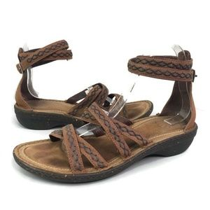 UGG Australia Crisscross Brown Ankle Sandals